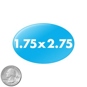 1.75x2.75 inch oval buttons size compared to quarter